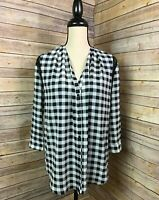 Women's FATE NWT Stitch Fix Pretty Black & White Checked Blouse Lace Inserts