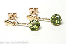 9ct Gold Peridot short Drop earrings Gift Boxed Made in UK