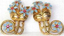 VINTAGE ART DECO RHINESTONE FLOWER DRESS CLIPS