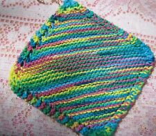 Multi color (bright) Dish cloths, knitted, set of 2