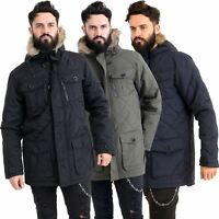 Mens Quilted Parker Parka Coat Jacket Fur Lined Hood Warm Winter Thick Padded