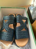 MIDAS raffia slip on low platforms, s 38, dark blue Brand new in box