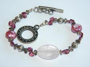 vintage SILVER 925 bracelet GARNETS cultured pearls ~ lovely ~