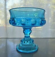 Indiana Colony Glass Blue Kings Crown Compote