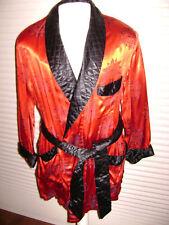 SMOKING JACKET Lounge Lizard Costume GLOSSY RED MID-CENTURY Size Small