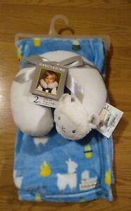 Blanket & Beyond Baby Blanket Travel Pillow Set Lamb Sheep Infant Boys Blue NEW