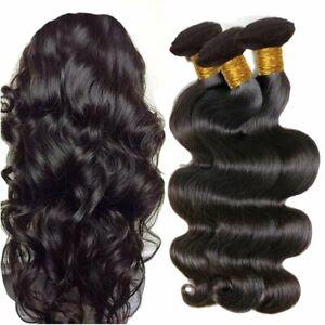 10A Brazilian Virgin Human Hair Extension Body Wave 3 Bundles 300g 1B Black