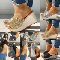 New Women Bling Wedge High Heels Sandals Ladies Summer Flip Flops Beach Shoes