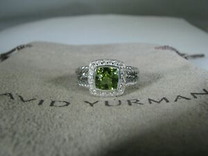 DAVID YURMAN AUTHENTIC ALBION 7MM PERIDOT PAVE DIAMOND RING SIZE 8 D.Y. POUCH