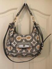 Coach 16936 Kristin Op Art Silver Grey Print Hobo Handbag Purse