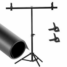 T Backdrop Stand Metal PVC Background Photography Support System With Black PVC