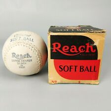 "VTG 50s Reach Official Soft Ball Kapok Center 12"" Inch 2221 White Softball w/Box"