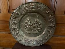 Vintage Large Brass Wall Charger Bar Scene With Lion Head Border Made In England
