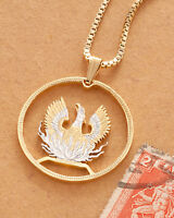 "Greek Phoenix Pendant and Necklace, Hand Cut Greek Coin,1 1/8"" in Dia. ( # 924)"