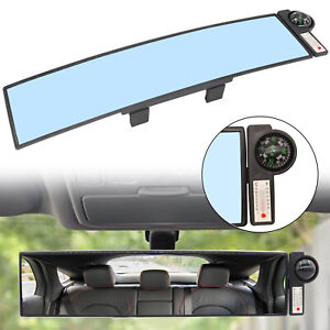 Universal Car Interior Wide Angle Mirror Anti Glare Rear View Blind Spot Compass