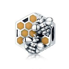 Honeycomb Honey Bee Square Charm 100% 925 Sterling Silver Pandora