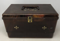 Vintage Plastic Sewing Box translucent Amber with removable tray