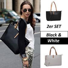 2er SET Black&White Damen Handtasche, stylische Henkeltasche  | VERSAND AUS DE