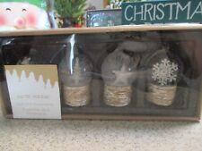 NIB Set of 4 Clear Acrylic SNOW GLOBE Christmas Ornaments-Deer, Snowflake, Tree