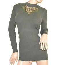 MAGLIONE VERDE donna maxi pull maglietta manica lunga velato pulover T UNICA G9