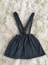 New Zara Girls Grey Terry Cloth Jumper Suspender Dress Skirt Size 8
