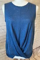 J Jill Love Linen Draped Twist Front Tank Top Womens Small Blue