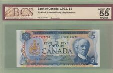 1974 Bank of Canada $5 Replacement Note - *SL2123738 - BCS Graded AU-55
