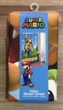 "Super Mario Kids Bathroom Decorative Fabric Shower Curtain, 72"" x 72"" - NEW"