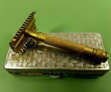 Vtg 1920 Pat Gillette Gold Safety Razor Metal Box Case Canada