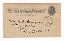 1893 South McAelster Indian Territory  UX10 Postal Card Fancy Masonic Triangle
