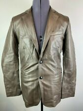 REISS BRENT BROWN GRAINED LEATHER BLAZER BOX JACKET SMALL RRP £395 EXCELLENT