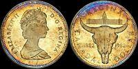 """1982 CANADA SILVER $1 DOLLAR PROOF """"REGINA CENTENNIAL"""" TONED COIN IN HIGH GRADE"""
