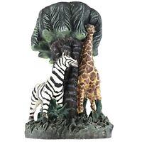 "Safari Wildlife Collection Plant Stand Zebra Giraffe Resin Display 12"" Tall Used"