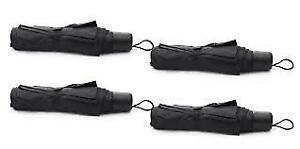 Mini Black Folding Umbrellas Collapsing w/ Carry Handle Lot of 4