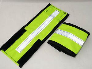 Extra wide fluorescent hi viz horse leg straps/bands / wraps - yellow or pink