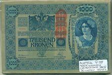 AUSTRIA BUNDLE 50 NOTES 1000 KRONEN (1919 OLD DATE 1902) P 59 VF/VF+