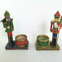 Set of 2 Nutcracker Figurine Candle Holders Multicolor Ceramic Metal Staff 8""