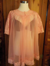 Vintage Shadowline Size M Peach Pink  Lace Trim Sheer Nylon Robe Short