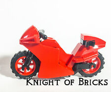 NEW Lego City Motorcycle Red Fairing Dirt Cruiser Bike Red Rims Town City