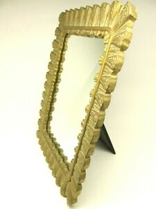 VTG Gold Gilt Table Vanity Stand-Up / Wall Mirror Velvet Back Easel 17+ x 13+