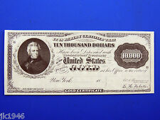 Reproduction $10,000 1888 Gold Cert. Uni-Face Note US Paper Money Currency Copy