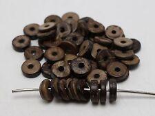 "100 pcs Natural Dark Coconut Column Heishi Beads 12mm(1/2"")"