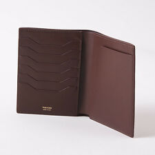 NWT TOM FORD Chocolate Brown Grained Leather Passport Holder Travel Wallet