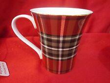 222 FIFTH WEXFORD PLAID TARTAN CHRISTMAS RED METALLIC GOLD  MUGS CUPS SET OF 4