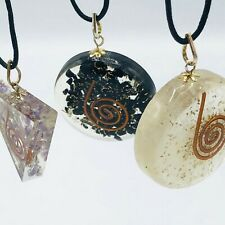 THREE Orgone Crystal PENDANTS Black Tourmaline Amethyst Selenite USA SELLER