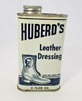 Vintage Huberds Shoe Grease Leather Dressing Blue Metal Tin Can, Advertising Tin