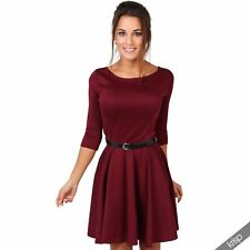 Womens Flared Franki Belted 3 4 Sleeve Top Party Pleated Retro Skirt Party Dress Berry 20