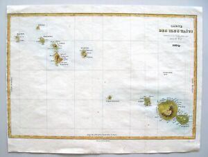 """ANTIQUE MAP OF TAHITI: """"CARTE DES ISLES TAITI"""": DUMONT D'URVILLE: PARIS, 1834"""