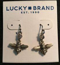LUCKY BRAND Gold Tone~Mini Rhinestones~Dangle Bumblebee Earrings~NWT