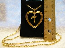 "*NEW* NIB Vintage AVON Gold Tone Initial ""T"" Heart Pendant Necklace Shiny"